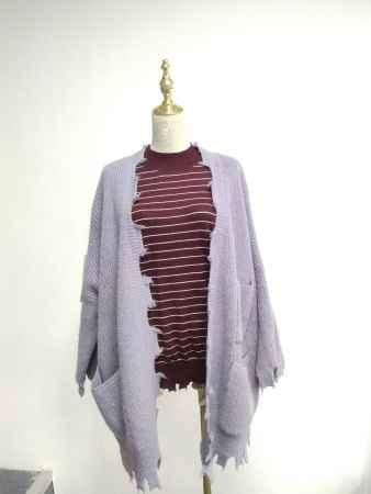 紫色磨边开衫